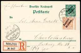 Beleg 25 Pfg. Dunkelorange Auf Ganzsachenkarte 5 C. Als Tarifmäßig Frankierte Einschreibe-Postkarte Nach Charlottenburg, - Briefmarken