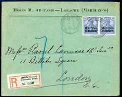 Beleg 25 C., Tadelloses, Waagr. Paar Auf Firmen-Einschreibebrief Nach London (leichte Beförd.-Spuren), Klare Stempel LAR - Briefmarken