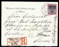 Beleg 50 C., Tadellose Einzelfrankatur Auf Einschreibebrief Der Österreichisch-Ungarischen Botschaft Mit Stempel TANGER  - Briefmarken