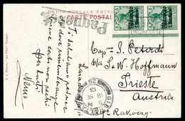 """Beleg 5 C., Senkr. Bogenrandpaar Auf Schiffs-Postkarte, Datiert """"Larache 17/9 13"""" Mit Rahmenstempel """"Adria UNGHERESE"""", B - Briefmarken"""