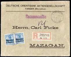 """Beleg 25 C. Hellblau, Farbfrisches Waagr. Paar Mit Zentr. Stempel TANGER MAROCCO """"b"""" 6/4 09 Auf Dekorativem Inlands-Eins - Briefmarken"""