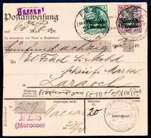 Beleg 5 C. Mit 60 C. Auf Tadelloser Rosafarbener Inlands-Postanweisung über 65 Peseten (Hassani-Währung), Klare Stempel  - Briefmarken