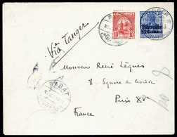 Beleg 25 C. In Doppelfrankatur Mit Sherifische Post 10 C. Rot Auf Tadellosem Bedarfsbrief Nach Paris. Die Marke Der Maro - Briefmarken