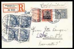 Beleg ALKASSAR MAROCCO 12/1 05, Sechs Klare Abschläge Auf Tadellosem Einschreibebrief 35 C. Nebst Fünfmal Germania 20 Pf - Briefmarken