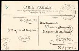 """Beleg FES-MELLAH MAROKKO """"a"""" 1/7 14, Zwei Klare Abschläge Auf Bildseitig Frankierter Foto-Ansichtskarte 10 C. Nach Belgi - Briefmarken"""