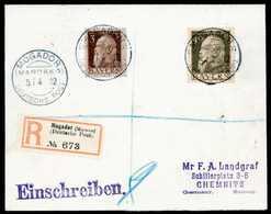 Beleg MOGADOR MAROKKO 5/4 12, Drei Klare Abschläge Auf Tadellosem Landgraf-Einschreibebrief Bayern 3 Und 40 Pfg. (Michel - Briefmarken