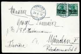 """Beleg TANGER MAROKKO """"c"""" 24/4 12, Ideal Auf Tadellosem Bedarfsbrief Zweimal 5 C. Nach München. (Michel: 47(2)) - Briefmarken"""