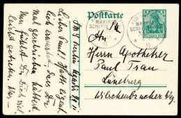 """Beleg MSP No.50 (Kleiner Kreuzer """"Berlin"""") 4/10 11, Auf Postkarte Germania 5 Pfg. (kl. Mgl.), Datiert """"Agadir 4.X.11"""". ( - Briefmarken"""