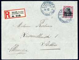 Beleg LARASCH 14/12 14, Zweimal Klar Auf Gef. Bedarfs-Einschreibebrief Nach Stettin, Rs. Durchgangsstpl. Der Spanischen  - Briefmarken