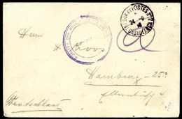 Beleg CASABLANCA 24/8 18, Französ. Stempel Auf Tadellosem Kriegsgefangenen-Brief Mit Violettem Zensurstempel Nach Hambur - Briefmarken