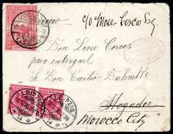 Beleg 1895, 10 Pfg., Waagr. Paar Mit Stempel LEIPZIG 10/12 95 Auf Frühem Brief  Nach Mogador. Dort Nicht Zustellbar Und  - Briefmarken