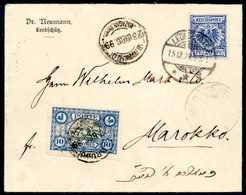 Beleg Doppelfrankatur Auf Eingehender Post: 20 Pfg. Mit Stempel LEOBSCHÜTZ 15/12 99 Auf Kl. Bedarfsbrief Nach Marokko, R - Briefmarken