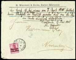 Beleg 1910, Postüberfall Rabat-Casablanca: 10 C., Einzelfrankatur Auf Grünem Firmenkuvert Nach Nürnberg Adressiert, Klar - Briefmarken
