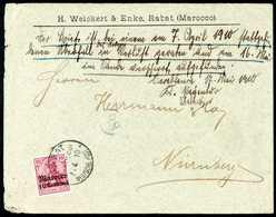 Beleg 1910, Postüberfall Rabat-Casablanca: 10 C., Einzelfrankatur Auf Grünem Firmenkuvert Nach Nürnberg Adressiert, Klar - Non Classificati