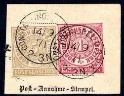 Briefst. Frankierter Postanweisungs-Ausschnitt: 1 Gr. Mit 5 Gr. Ockerbraun (letztere Am Oberrand Kl. Beanstdg.) Auf Auss - Briefmarken