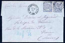 Beleg 2 Gr. Blau, Zwei Leuchtend Farbfrische Exemplare In üblicher, Etwas Unregelmäßiger Zhg. Auf Aktenfrischem Brief Mi - Briefmarken