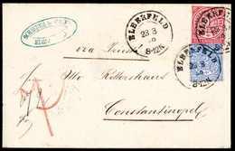 Beleg Eingehende Post: Norddt. Postbezirk 1 Gr. Rosa Und 2 Gr. Hellblau Auf Schönem Weißem Faltbrief Mit K2 ELBERFELD 23 - Briefmarken
