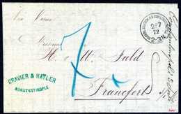 """Beleg KDPA CONSTANTINOPEL 2/7 72, Klar Auf Unfrankiert Aufgegegebem Brief Mit Leitweg """"via Varna"""" Nach Frankfurt/M. Der  - Briefmarken"""