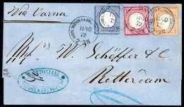 Beleg 1 Gr. Mit 2 Gr. Hellultramarin Und ½ Gr. Orange Als Dekorative Dreifarben-Frankatur Auf Blauem Faltbrief Nach Rott - Briefmarken