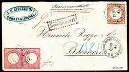 Beleg Mischfrankatur Auf Einschreibebrief: 1 Gr., Waagr. Paar In Mischfrankatur Mit Gr.Schild, 2½ Gr. Rötlichbraun Auf S - Briefmarken