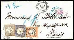 Beleg Dreifarben-Frankatur Kl.Brustschild: 2 Gr. Mit 5 Gr. Ockerbraun Und ½ Gr. Gelborange, Vorzüglich Farbfrische Und B - Briefmarken