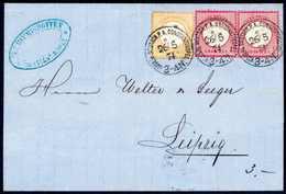 Beleg ½ Gr. Hellgelborange, Seltene Farbe Mit Waagr. Paar 1 Gr. Karminrosa Mit Sauber Aufges. Stempeln KDPA CONSTANTINOP - Briefmarken