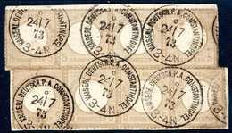 Briefst. 5 Gr., Zwei Waagr. Viererstreifen Auf Bfstk. Mit Gestochen Klar Aufges. Stempeln KDPA CONSTANTINOPEL (mit Kreis - Briefmarken