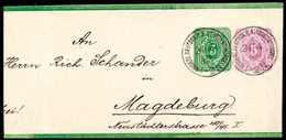 Beleg 5 Pfge., Zusatzfrankatur Auf Ganzsachen-Streifband 3 Pfge. Grün Mit Zwei Ideal Aufges. Stempeln KDPA CONSTANTINOPE - Briefmarken