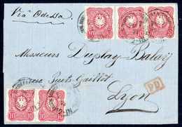 Beleg 10 Pfge., Zwei Waagr. Paare Und Einzelstück Als Außergewöhnliche 50-Pfg.-Frankatur Auf Kleinem Blauem Faltbrief Mi - Briefmarken