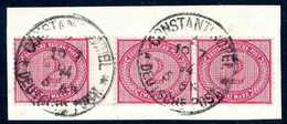 Briefst. 2 Mk., Tadelloser Waagr. Zwischensteg-Dreierstreifen Auf Bfstk. Mit Zwei Zentr. Stempeln CONSTANTINOPEL 1. 19/7 - Non Classificati