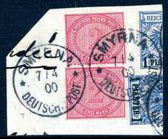 Briefst. 2 Mk. Rötlichkarmin, Zwei Exemplare Mit Teilen Von Zwei 1-Pia.-Marken Auf Bfstk. (geglättete Falte), Klare Stem - Non Classificati