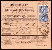 Beleg 20 Pfg., Waagr. Paar In Leuchtender Farbe Auf Internationaler Postanweisung über 18,18 Mark Nach Dtld. Klare Stemp - Non Classificati