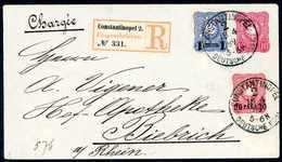 Beleg Ganzsachenumschlag 10 Pfg. Karmin Mit Zusatzfrankatur Aufdruck-Ausgabe 1884, 20 P. Dunkelrosarot Und 1 Pia. Ultram - Non Classificati