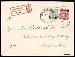 Beleg 20 P. Mit 2½ Pia. Graugrün, Beide Aus Der Erstauflage Auf Tadellosem, Schönem Einschreibebrief Nach München, Klare - Non Classificati