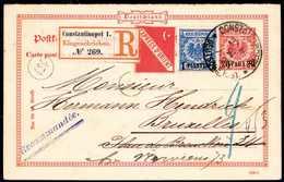 Beleg Orient-Express: 1 Pia., Zusatzfrankatur Auf Ganzsachen-Doppelkarte 20/20 P., Eingeschrieben Nach Brüssel (Antwortt - Non Classificati