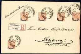 Beleg 1¼ Pia. Gelborange, Fünf Tadellose Exemplare Auf überfrankiertem Einschreibebrief Nach Salzburg, Klare Stempel CON - Non Classificati