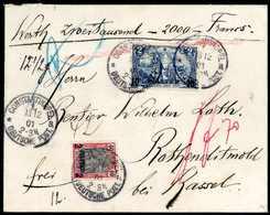 Beleg Wertbrief 2000 Francs: 2 Pia. Mit 10 Pia. Auf Tadellosem Wertbrief über 2000 Fr. (12½ G) Mit Klarem Stempel CONSTA - Non Classificati