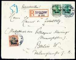 """Beleg 10 P. Und 1½ Pia. Auf Ganzsachenumschlag 1905, 10 P. Als Einschreibebrief Nach Berlin, Klare Stempel JERUSALEM """"a"""" - Non Classificati"""