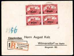Beleg 5 Pia., Tadelloser Eckrand-Viererblock Entwertet Mit Stempel Des Britischen Postamts CONSTANTINOPEL Jedoch Deutsch - Non Classificati