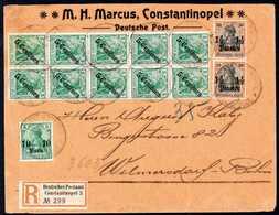 Beleg 10 P. Mit Senkr. Paar 1½ Pia. In Währungs-Mischfrankatur Mit Ausgabe 1908, 5 C. Im Senkr. Zehnerblock Auf Dekorati - Non Classificati