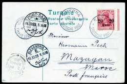 Beleg 20 P., Tadellose Postkarte Mit Stempel SMYRNA 10/11 09 Nach Mazagan/Marokko (Franz.Post) Adressiert, Zahlr. Durchg - Non Classificati