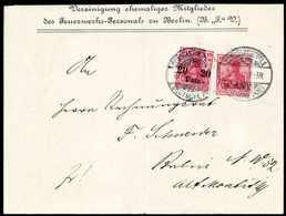 """Beleg Nachfrankierter Rückumschlag: Germania 10 Pfg. Mit Ergänzungs-Frankatur 20 P. A. 10 Pfg. Auf Vordruckbrief """"Verein - Non Classificati"""
