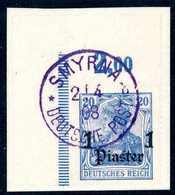 "Briefst. 1 Pia., Tadellose, Li. Ob. Bogenecke Auf Bfstk. Mit Idealem Violettem Stempel SMYRNA ""b"" 2/4 08. Selten. (Miche - Non Classificati"