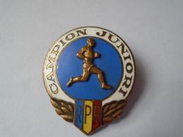 Romania - Popular Republic - 1958 Sport Badge - Athletics - Junior Champion - Athletics