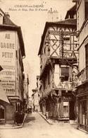 Cpa,saone Et Loire,chalon Sur Saone,maison De Bois,rue Saint Vincent,tabac,bonneterie, Boulangerie,rue Ancienne,pavés,71 - Chalon Sur Saone