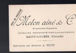 Saint-Loubès (33 Gironde) Avis De Passage MELON AINE (propriétaire Récoltant) (PPP12302) - Publicités