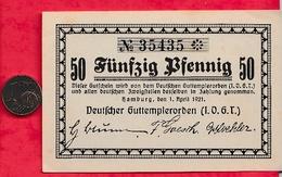 Allemagne 1 Notgeld  50 Pfenning Hamburg Lot N °1281 état (RARE) ( Pièce De 1 Centime D 'Euro Indicateur De Dimension) - [ 3] 1918-1933 : République De Weimar