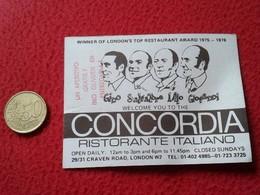 ANTIGUA TARJETA DE VISITA VISIT CARD PUBLICIDAD PUBLICITARIA O SIMIL CONCORDIA NOTTE RISTORANTE ITALIANO LONDON ENGLAND - Tarjetas De Visita