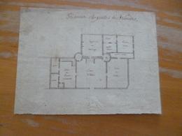 Plan Original 18ème Prisons Royales De Brioude Auvergne 17.2 X 23cm - Architecture
