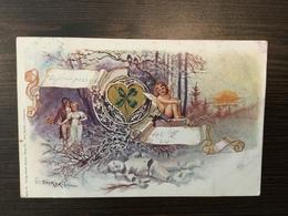 AK  ANGEL  ENGEL  LITHO  DÖCKER   SIGNED  SNOWMAN  1899. - Anges